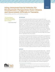 Using Unmanned Aerial Vehicles for Development- Perspectives from Citizens and Government Officials in Tanzania
