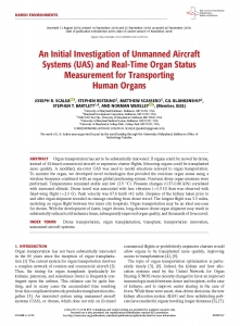 An Initial Investigation of Unmanned Aircraft Systems (UAS) and Real-Time Organ Status Measurement for Transporting Human Organs